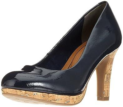 22421, Zapatos de Tacón para Mujer, Azul (Navy Pat. Comb), 39 EU Marco Tozzi