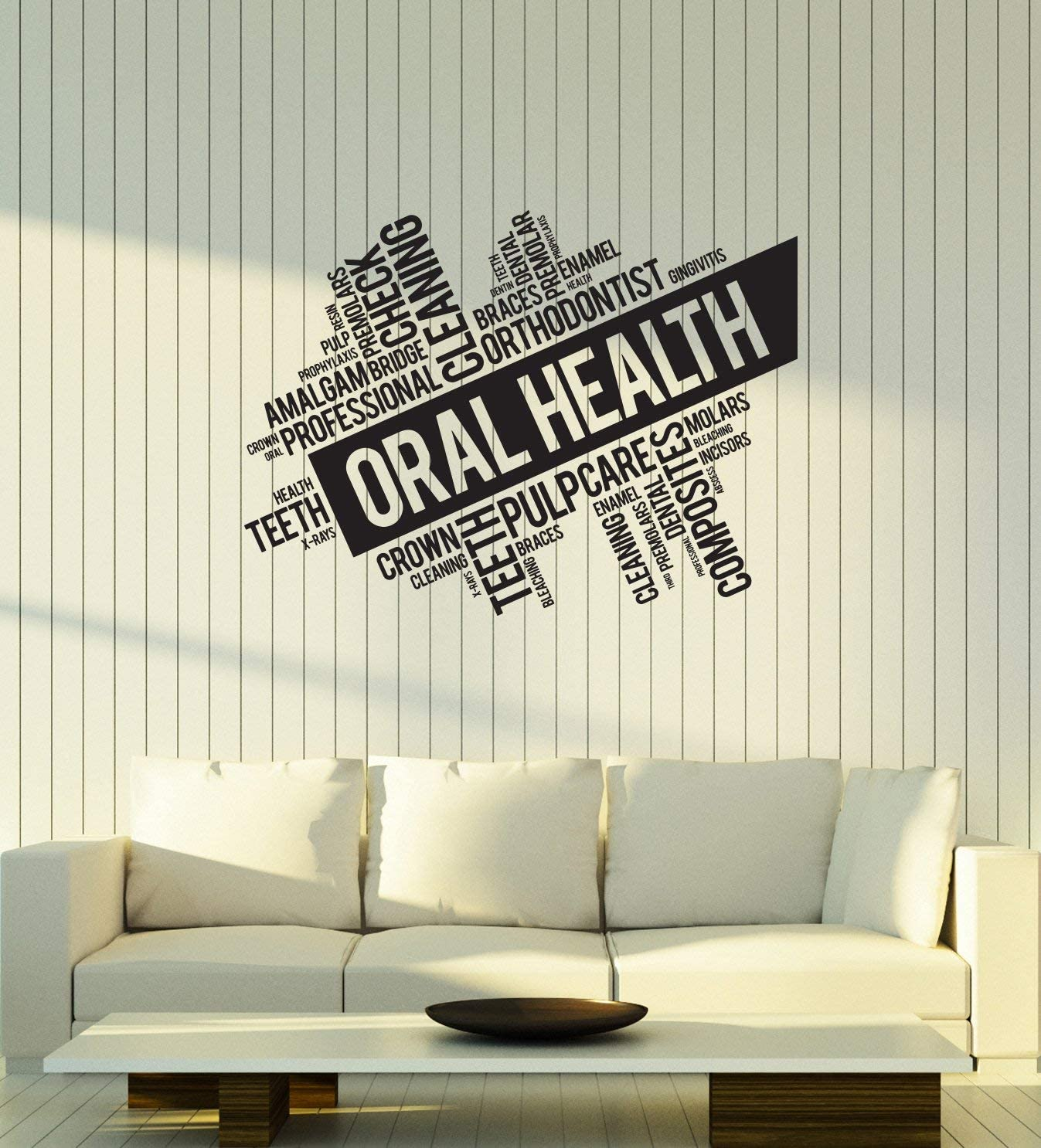 Vinyl Wall Decal Oral Health Words Cloud Dentistry Dentist Office Interior Dental Clinic Stickers Mural Large Decor (ig5754) Black