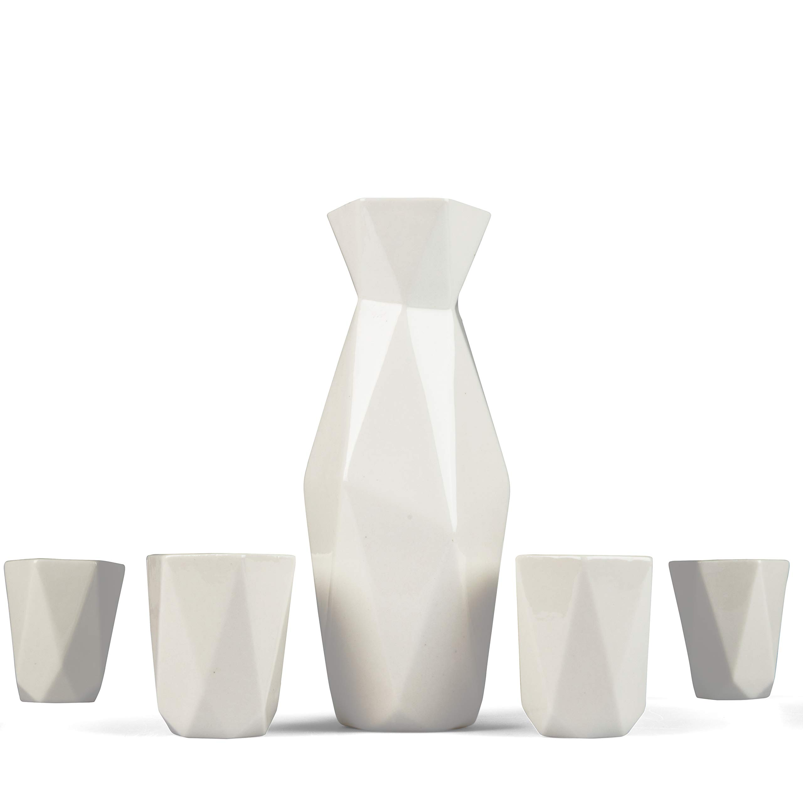 5 Piece Traditional Japanese Sake Set, 1 Tokkuri Bottle and 4 Ochko Cups, White - Unique Custom Modern Design by Deco