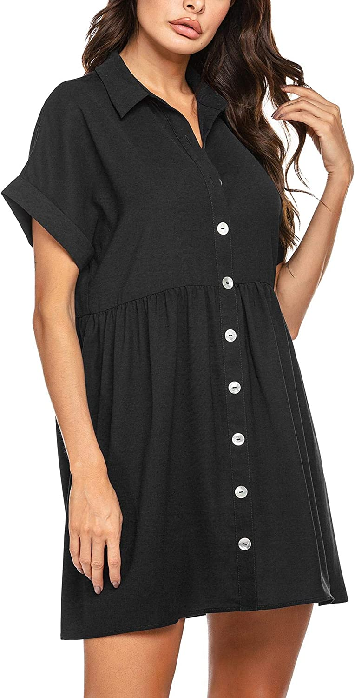 FINEJO Womens Summer Sweet /& Cute Short Sleeve Button Down Loose Casual Dress S-XXL