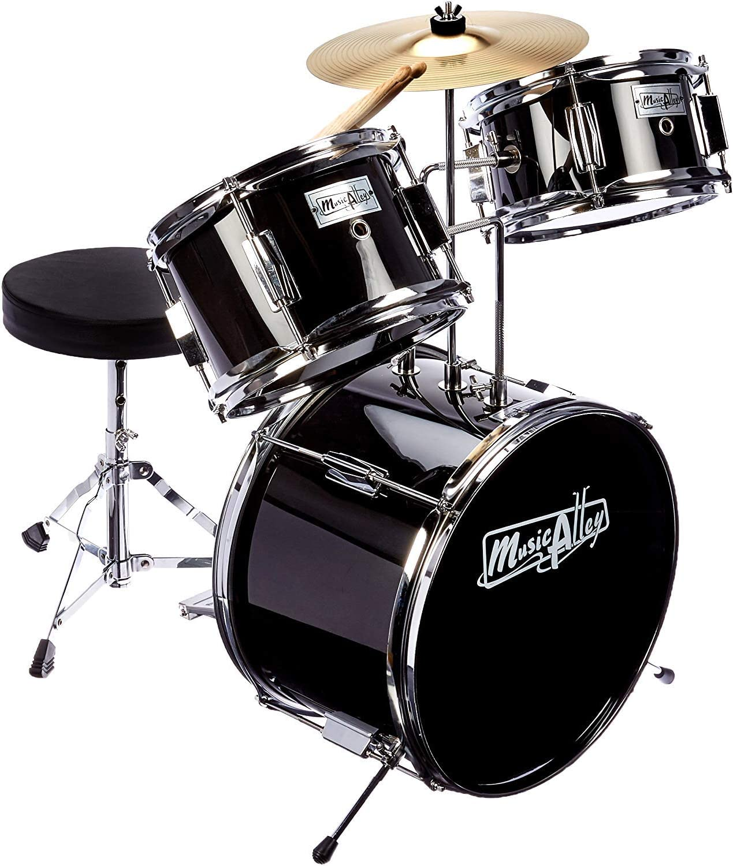 Music Alley 3 Piece Kids Drum Set with Throne, Cymbal, Pedal & Drumsticks, Metallic Black