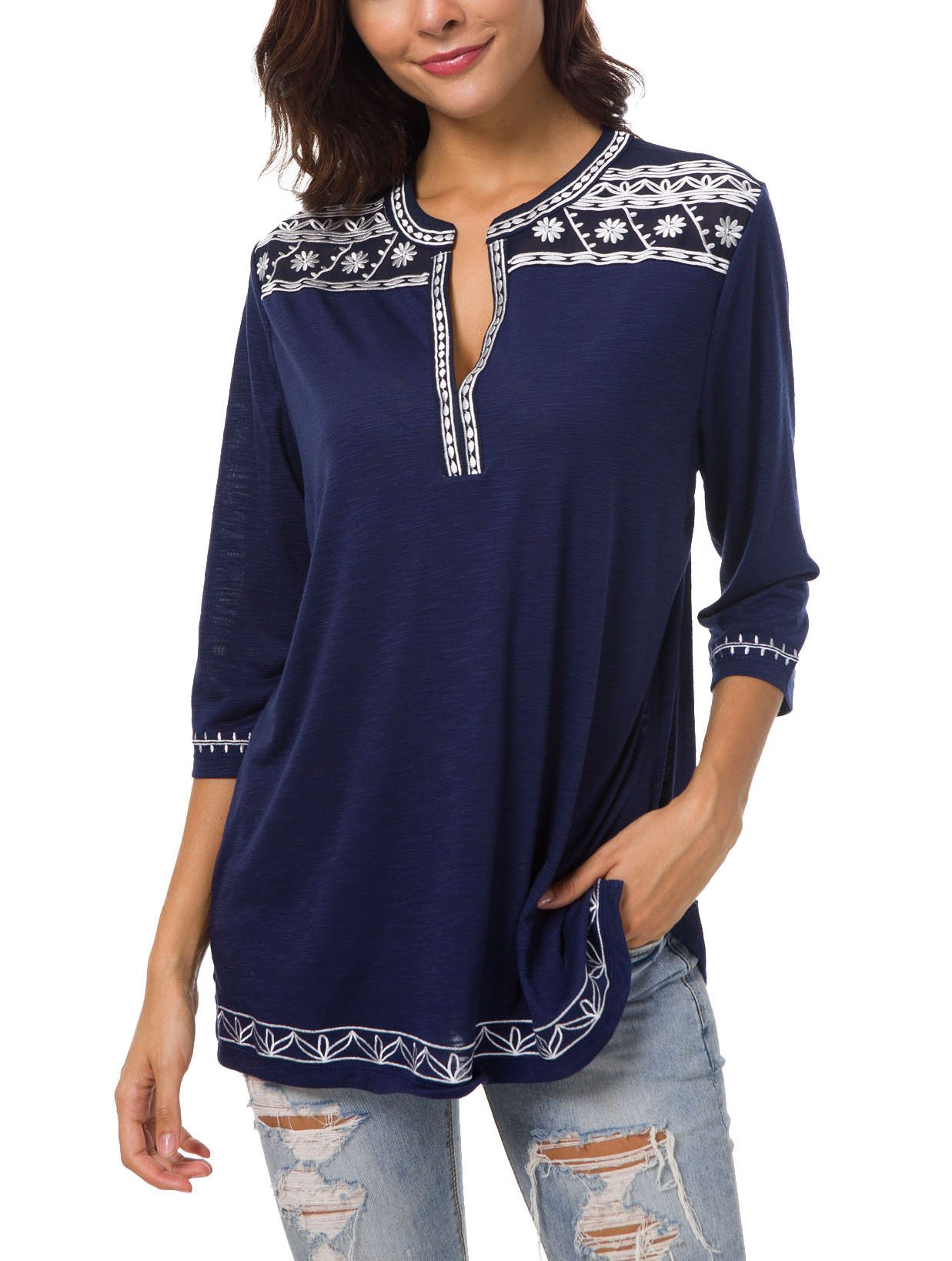 Urban CoCo Women's 3/4 Sleeve Boho Shirts Embroidered Peasant Top (XL, Navy Blue)