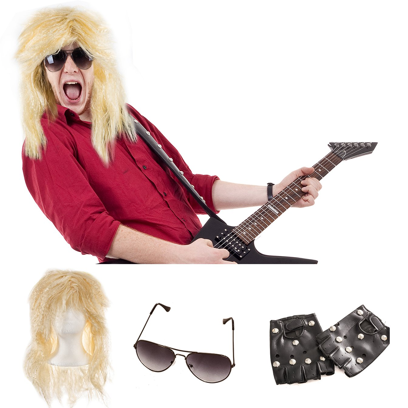 Tigerdoe Rockstar Costume - 80s Costumes - Heavy Metal Wig - Rocker Accessories Top Hat Aviators)