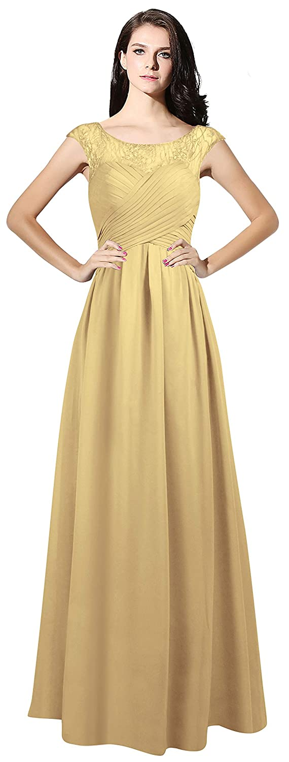 Champagne CladiyaDress Women Sheer Neck Cap Sleeves Long Evening Dress Bridesmaid Gowns C067LF