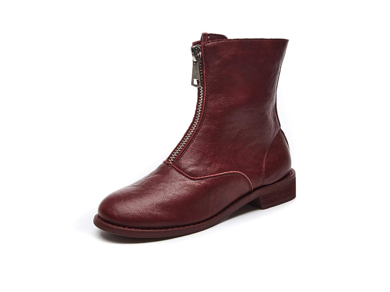 HOESCZS Chaussures Femmes Bottes Nouvelles Bottes Enfants Bottes Femmes Bottes Bottes Avant À Glissière Martin Bottes Bottes dans Le Tube Les Bottes Femmes 36|Red 86a584