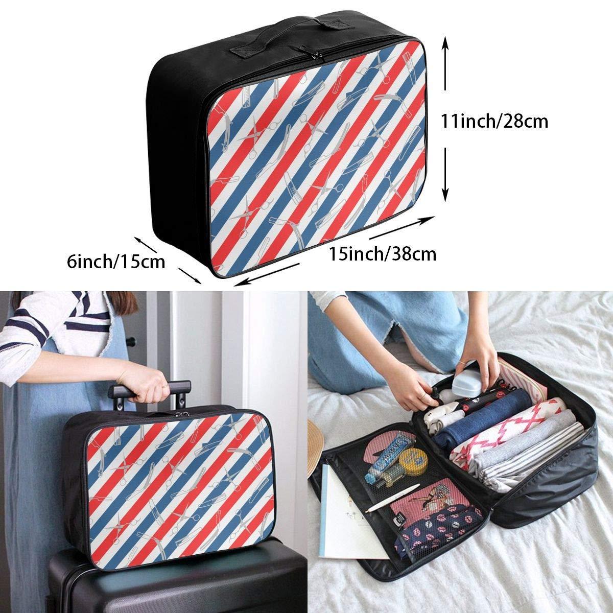 Barber Us Flag Stripes Travel Duffel Bag Waterproof Fashion Lightweight Large Capacity Portable Duffel Bag for Men /& Women JTRVW Luggage Bags for Travel
