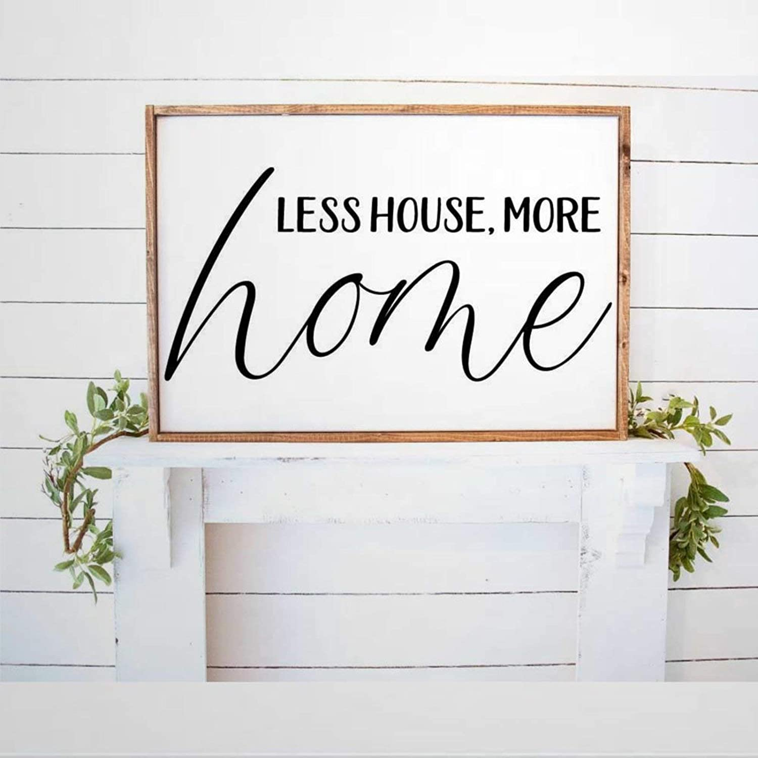 BYRON HOYLE Less House More Home Framed Wood Sign, Wooden Wall Hanging Art, Inspirational Farmhouse Wall Plaque, Rustic Home Decor for Nursery, Porch, Gallery Wall, Housewarming