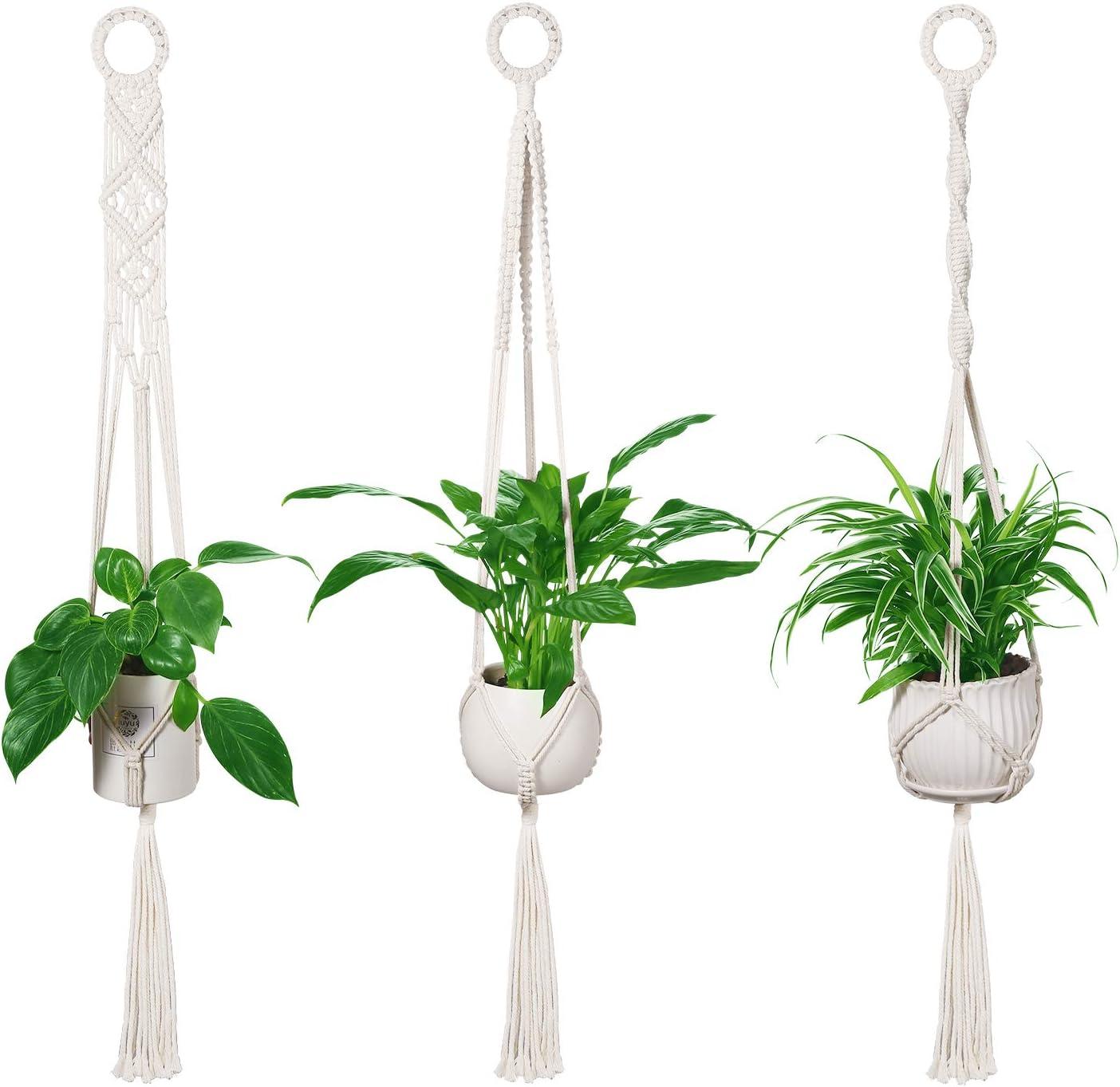 LEEPES 3 Pack Macrame Plant Hangers Indoor Wall Hanging Planters, Handmade Hanging Plant Holder Basket Stand Flower Pot Holder for Indoor Outdoor Boho Home Decor(4 Legs, 39 Inch)