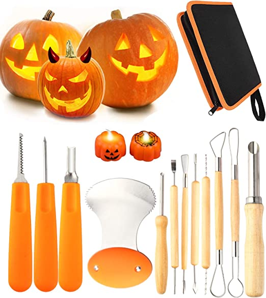 Orange YZHI Pumpkin Carving Kit with Protective Gloves Halloween Pumpkin Carving Stencils Tools Knifes Gifts Pumpkin Carving Set 7pcs for Adults and Kids