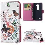 LG Leon 4G H340N Cover,PU Cuoio Caso Guscio Con carte di credito slot Protettiva in Pelle Flip Case Wallet Cover per LG Leon 4G LTE H340N C40 C50 Custodia Portafoglio Casi,Farfalla 01