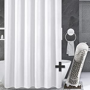 Bundle Set of Fabric Shower Curtain Liner and Nickel Shower Hooks