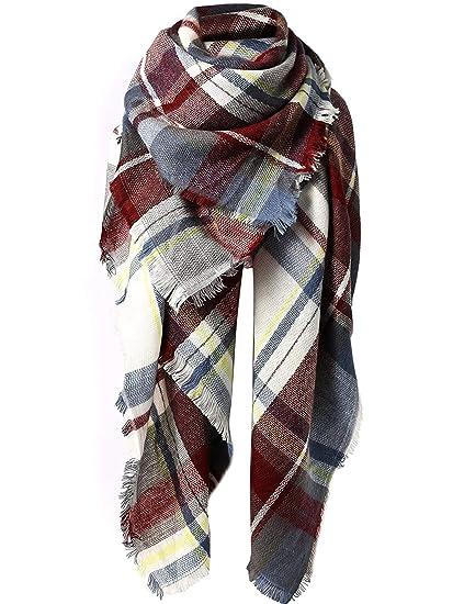 db7ad9a921ed9 Women's Fall Winter Scarf Classic Tassel Plaid Scarf Warm Soft Chunky Blanket  Wrap Shawl Scarves A