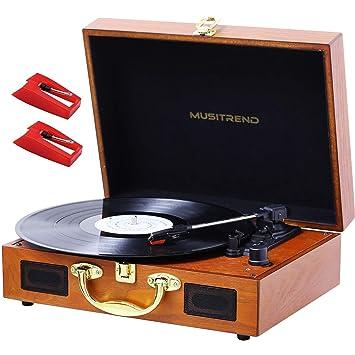 MUSTRIEND Tocadiscos 33/45/78 Reproductor de Vinilo con Maleta de Madera con Altavoces Incorporados, Grabación de PC, AUX IN de 3,5 mm y Conector para ...