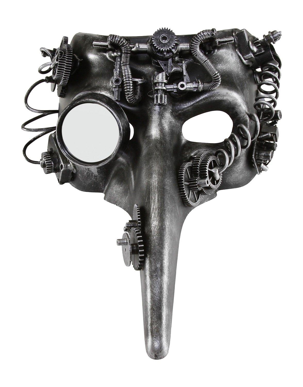 KAYSO INC The Plague Doctor Victorian Steampunk Bauta Full Face Masquerade Mask (Rustic Silver)