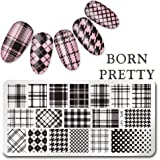Born Pretty Rectangle Nail Art Stamp Template Checked Design Image Plate L041