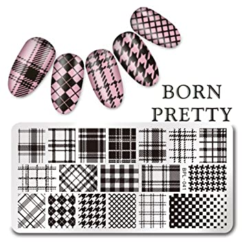 AmazonCom  Born Pretty Rectangle Nail Art Stamp Template Checked