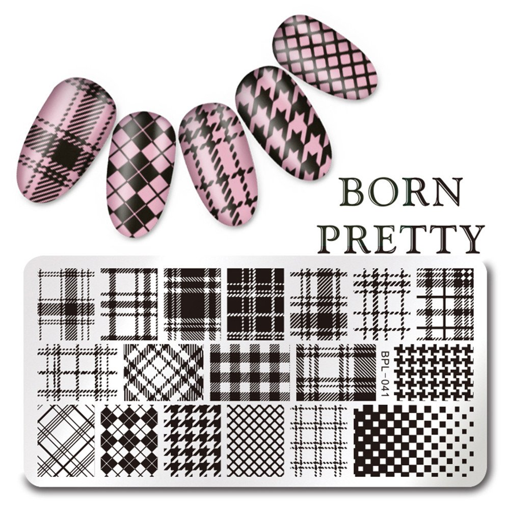 Born Pretty Rectangle Nail Art Stamp Template Checked Design Image Plate L041