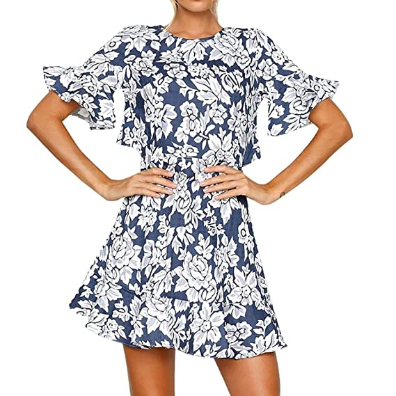 0cd7e56d5be8b Minisoya Women Summer Flare Sleeve Floral Dress Casual Vintage Backless  Cocktail Evening Party Boho Beach Mini Dress at Amazon Women's Clothing  store: