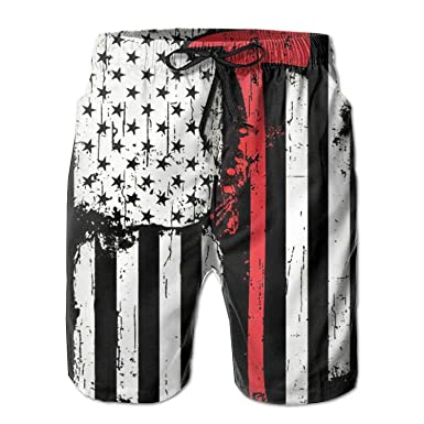 2256437a6f Amazon.com: Huijvtong Firefighter Red Line American Flag Men's Quick Dry  Beach Shorts Breathable Swim Trunks Board Shorts Pants: Clothing