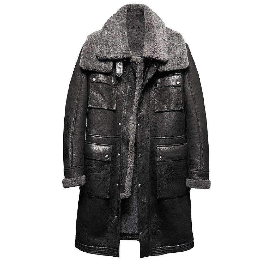 メンズ ロングPコート プレミアムムートン羊毛革 本革 最強防寒ライダース 実用性も抜群 B077LP8CTD XL|ブラック -2 ブラック -2 XL