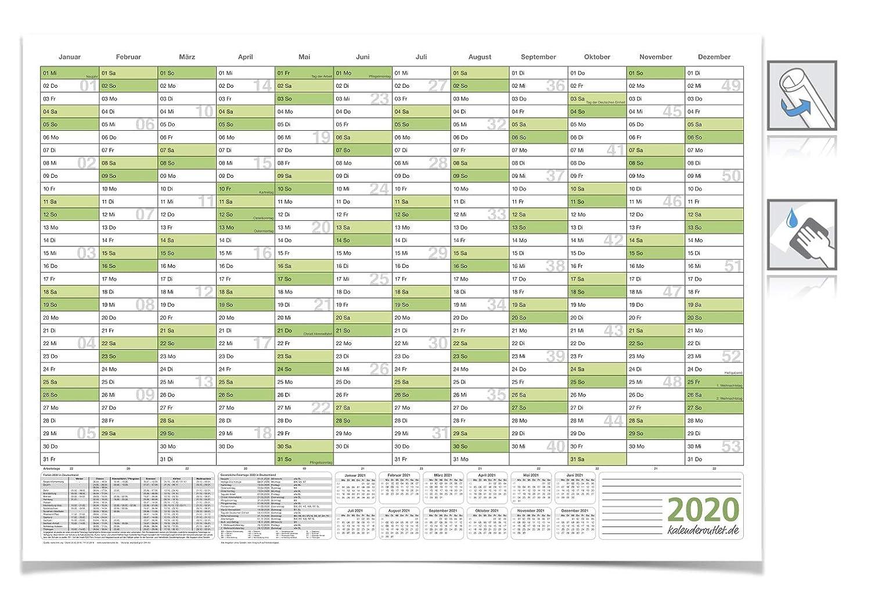 DIN B1 gr/ün 100 X 70 cm 250g//m/² ABWISCHBAR gerollt mit 4 Faber-Castell Marker Kalender//jahresplaner 2020