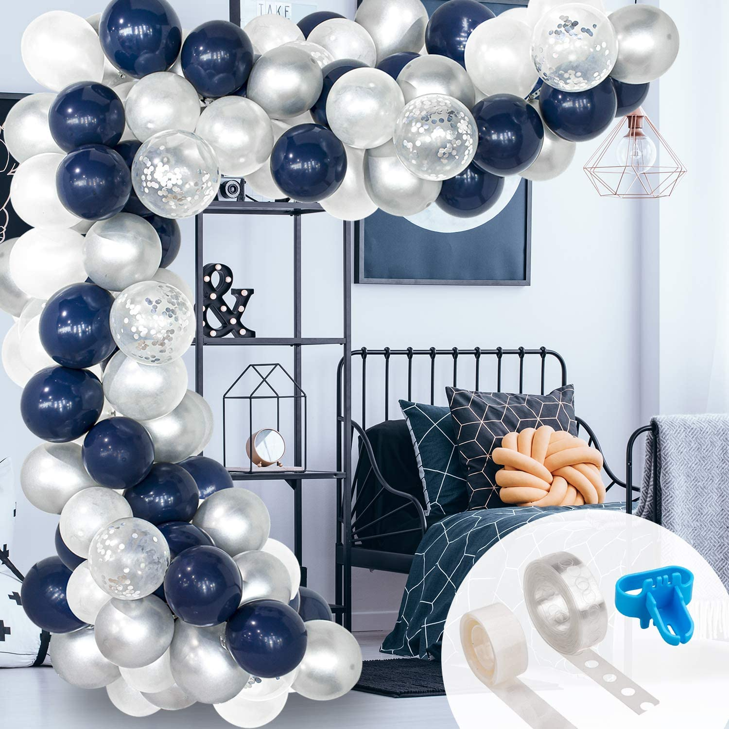 Dot Glue for Wedding Birthday Graduation Party Supplies Blue Silver White Balloon Garland Kit,120pcs Royal Blue and Silver Metallic Balloons Arch Kit with Strip Tape