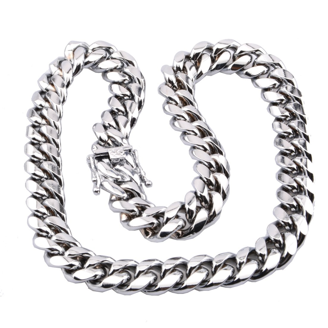 FANS JEWELRY Mens Silver Tone Cut Miami Curb Cuban Chain 316L Stainless Steel Necklace Bracelet