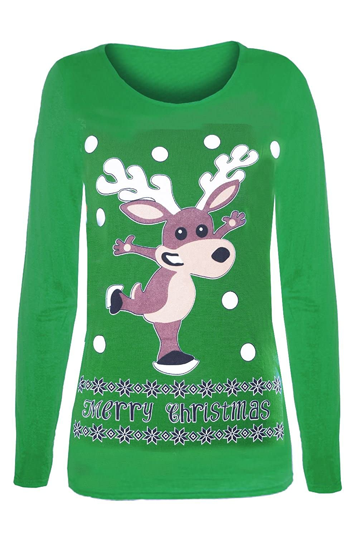 Fashion Star Womens Xmas T Shirts Ladies Reindeer Glitter Nose Minion Snowman Long Sleeve Top BE JEALOUS