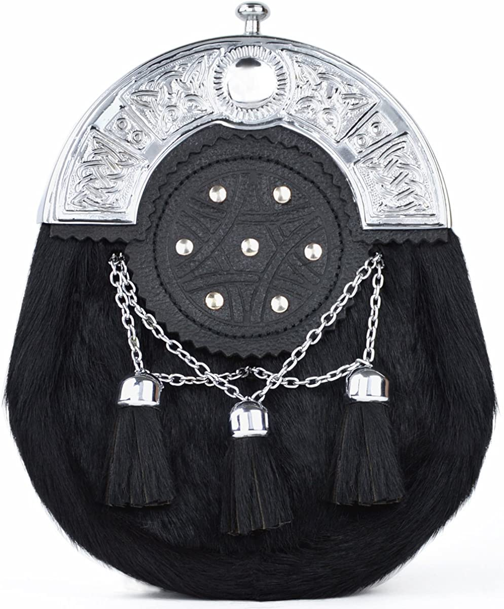 Men/'s Scottish Full Dress Black Leather Stud Kilt Sporran with Chrome Cantle.