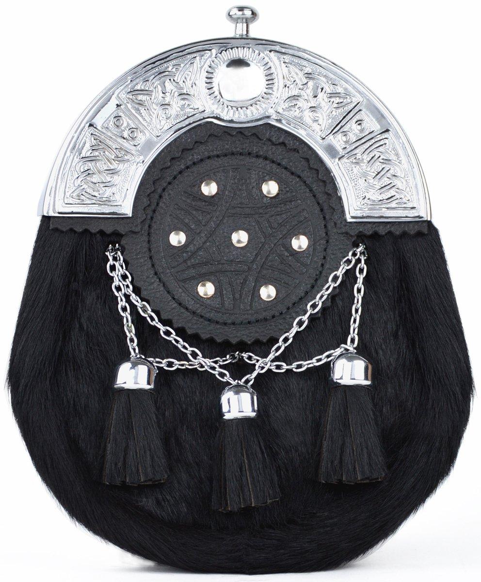 Kilt Society Celtic Targe Black Bovine and Leather Full Dress Sporran