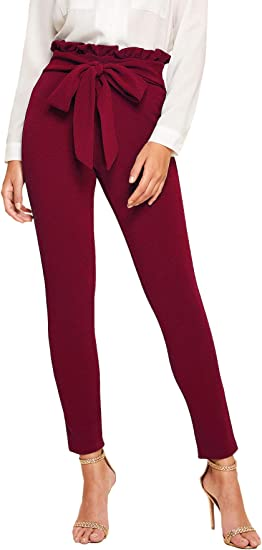 UK Womens High Waist Trousers Office Ladies Strappy Pockets Long Slim Fit Pants