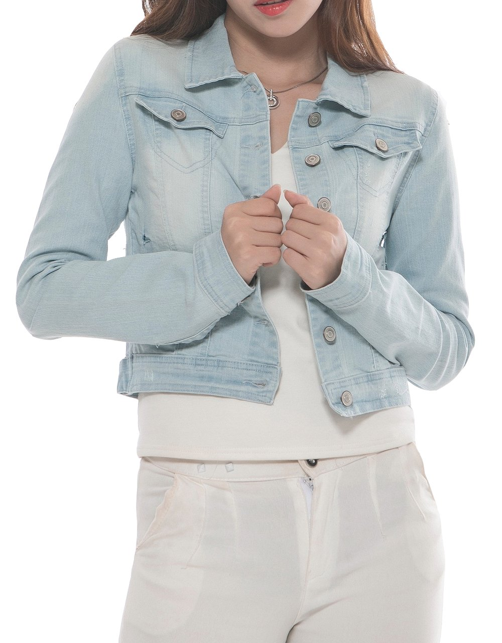 PERHAPS U Women's Short Cropped Denim Jacket Button Front Long Sleeves Jean Jackets for Women X-Large Light Blue