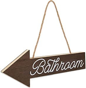 Wooden Arrow Bathroom Sign, Rustic Wall Décor (15.5 x 5.5 Inches)