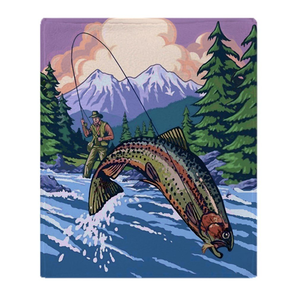 "CafePress Mountain Trout Fisherman Soft Fleece Throw Blanket, 50""x60"" Stadium Blanket"