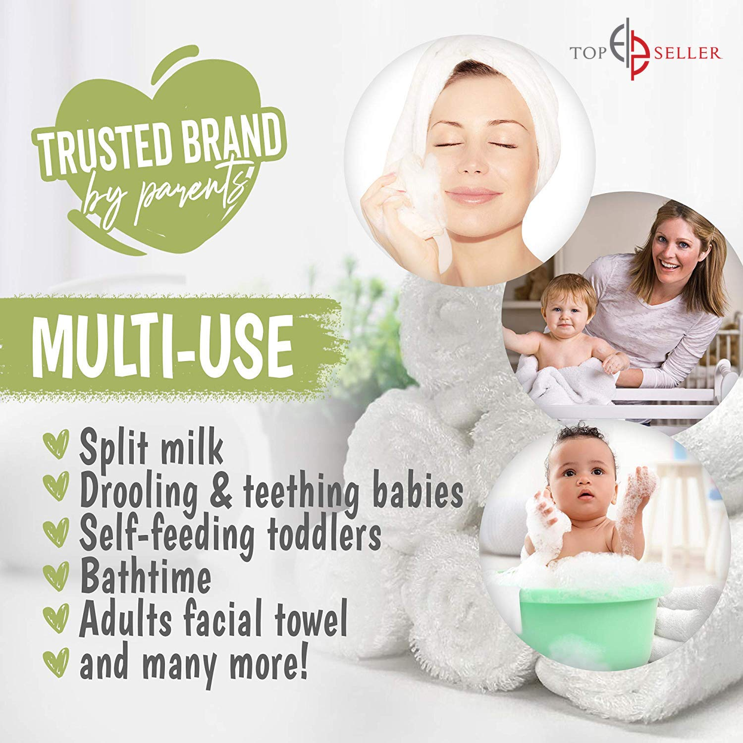 Multi 2 Layers of Ultra Luxury Soft Absorbent Bamboo Towel Natural Reusable Baby Wipes for Sensitive Skin Newborn Bath /& Face Towel Worlds Best Baby Bamboo Washcloths Towels /& Laundry Bag Set