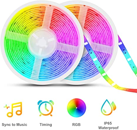Led Strip Lights Sync To Music Tasmor 32 8ft 5050 Rgb Light Color Changing With Music Ip65 Waterproof Led Rope Light With Controller For Home Room