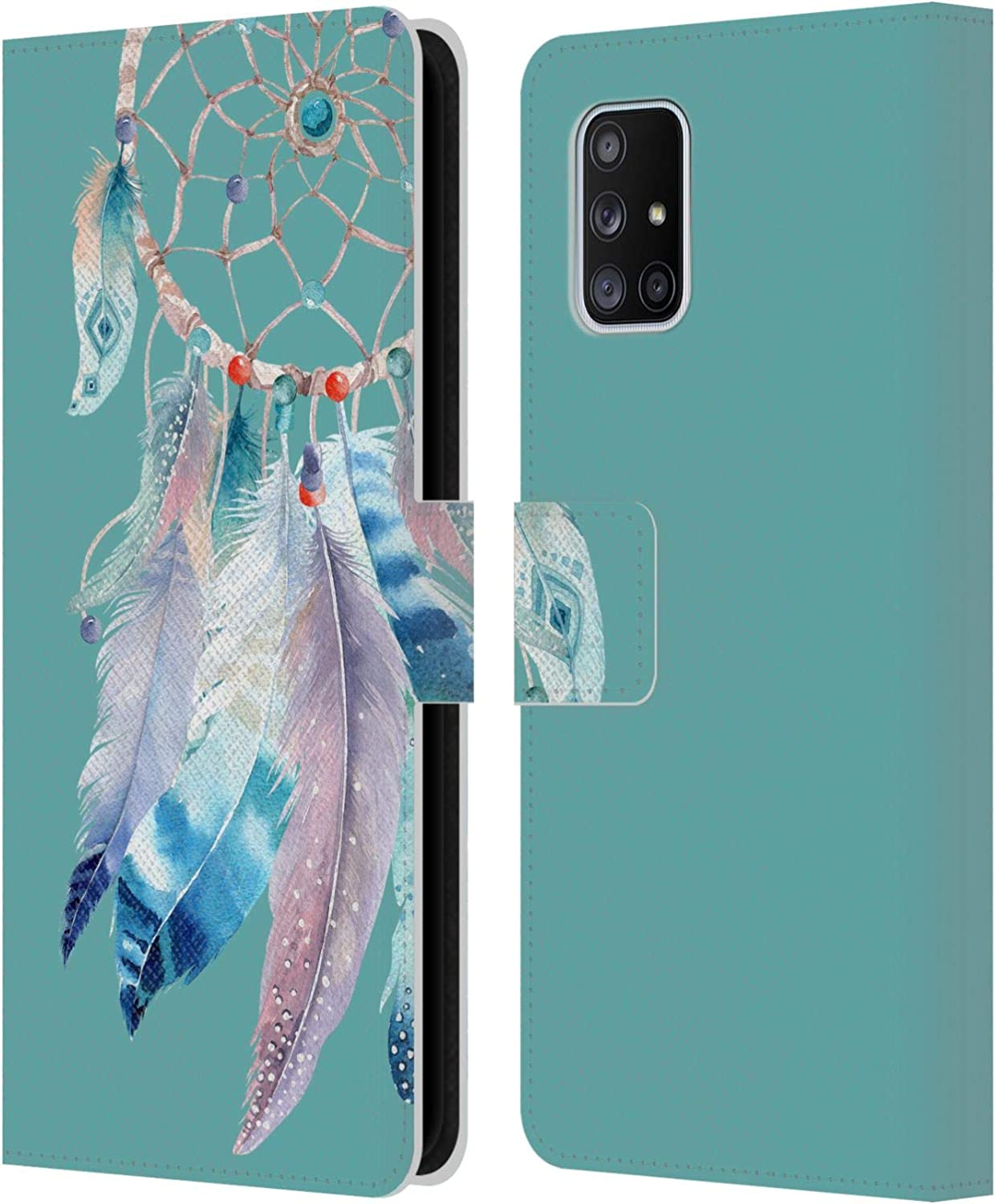 Official Kristina Kvilis Teal Dreamcatchers 2 Leather Book Wallet Case Cover Compatible For Samsung Galaxy A71 5G 2020