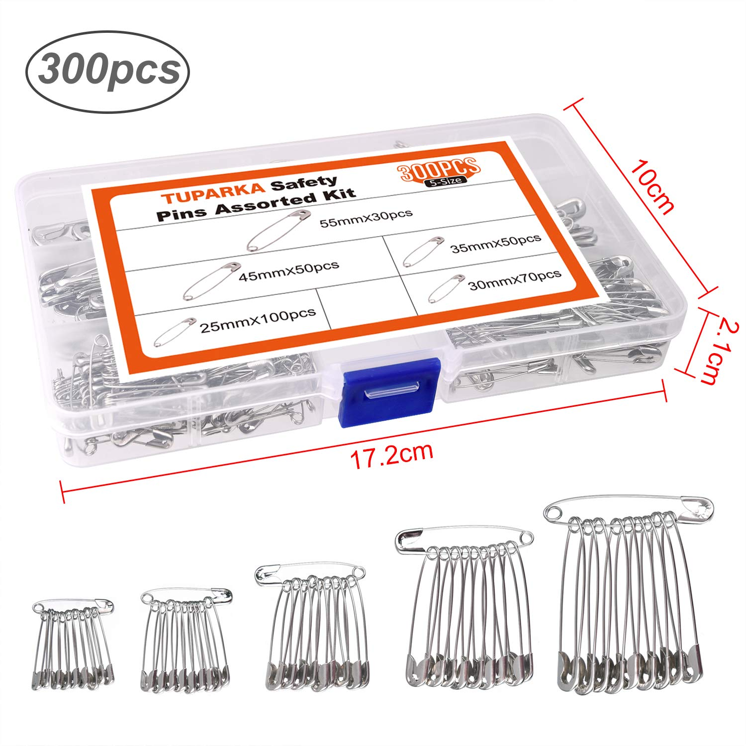 25,30,35,45,55mm TUPARKA 300 Pcs Safety Pins Assorted for Home Office Use Art Craft Sewing Jewelry Making,5 Sizes
