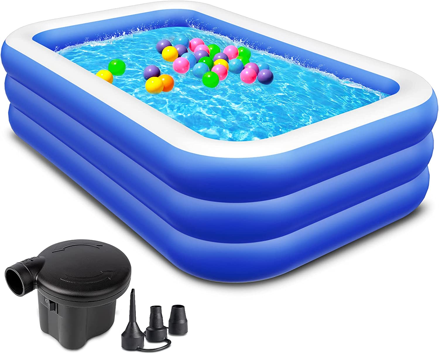 ZATK Inflatable Pool, Large Family Pool with Electric Air Pump, 94''x55''x22'' Blow Up Swimming Pool for Adult and Kids, Summer Backyard Garden Lounge Pool