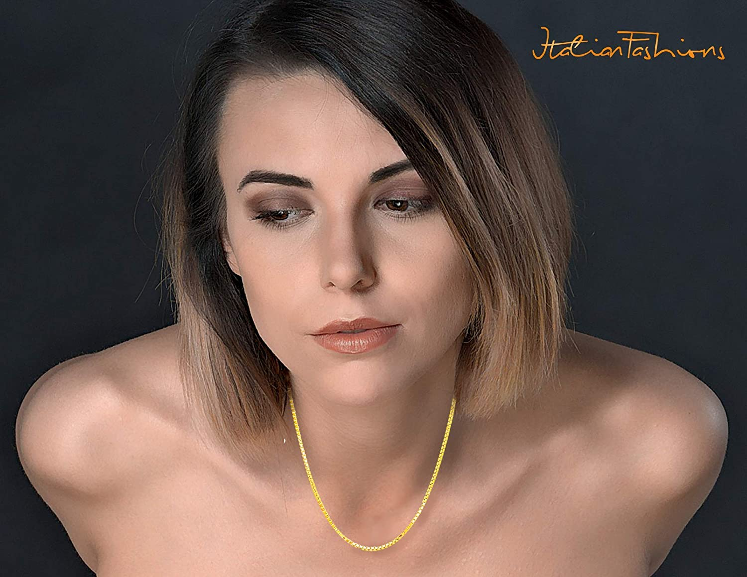 14K Solid Yellow or White or Rose//Pink Gold 0.5MM,0.7MM,0.9MM,1.1MM,1.2MM Italian Diamond Cut Box Chain Necklace