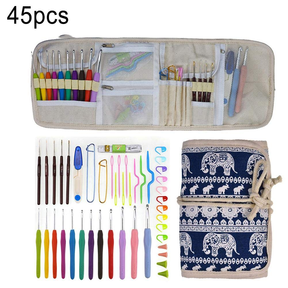 Jungles 56/60 PCs Crochet Hooks, Knitting Needles Knit,Lightweight, Ergonomic, Eco-Friendly, Cartoon Cat Case with Crochet Accessories for Beginners Crocheters