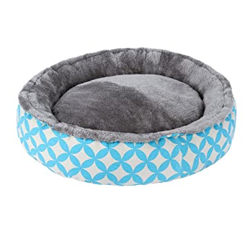 QIAOQI Cama Redonda para Mascotas, Impresión Perro Cueva Cama Mascota Gato Cama Suave Lavable Cesta