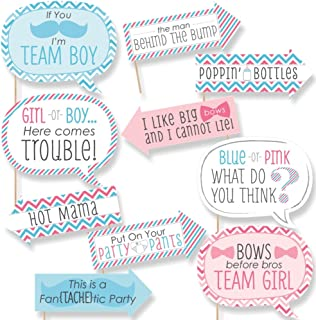 product image for Funny Chevron Gender Reveal - Baby Shower Photo Booth Props Kit - 10 Piece
