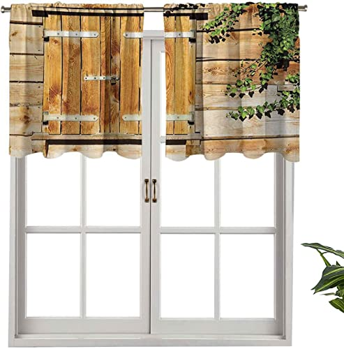 Hiiiman Modern Window Curtain Valance Facade of an Old Building Wooden Shutters Traditional House - a good cheap window curtain panel