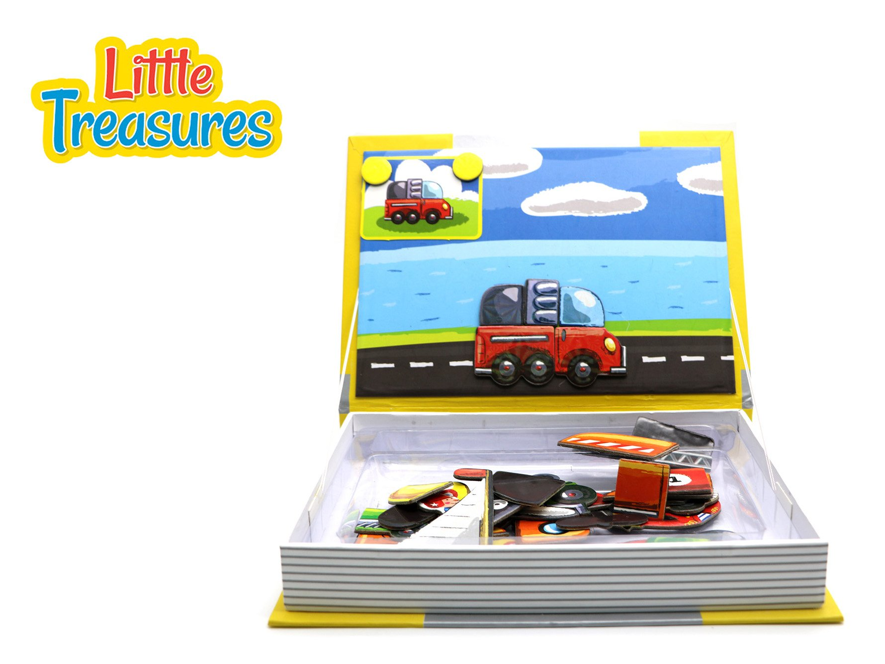 Little Treasures 68-Pcs Transport Puzzle Magnetic Dress-Up Toy Book for Kids Ages 3 Plus by Little Treasures