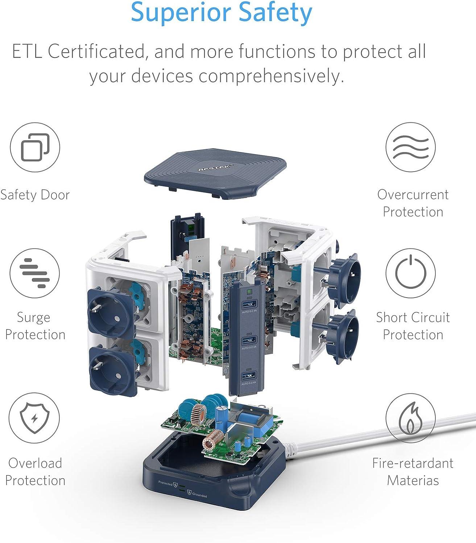 Noir-Blanc Interrupteur Clapet S/écuritaire Multiprise Parafoudre BESTEK Parasurtenseur avec 8 Prises EU et 6 Ports USB 2,4A Adaptateur Douille et 1600J Protection Surtensions
