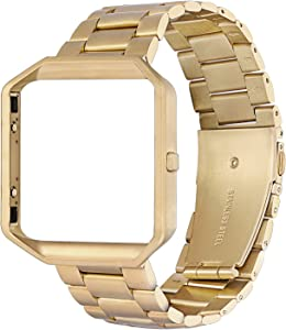Oitom Metal Bands Compatible with Fitbit Blaze Large,Frame Housing+Stainless Steel Bracelet Replacement Accessory Strap Watch Band for Smart Fitness Watch (Gold)