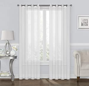 GoodGram 2 Pack Ultra Luxurious High Woven Elegant Sheer Grommet Curtain Panels - Assorted Sizes & Colors (White, 95 in. Long)