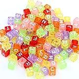 Skyllc® 200 Abalorios Alfabeto Letras Cubo Cuadrados Colores 6 mm
