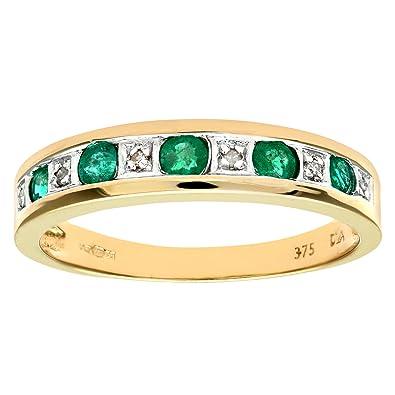 Naava 9ct Yellow Gold Ladies Diamond And Emerald Ring Amazon Co Uk